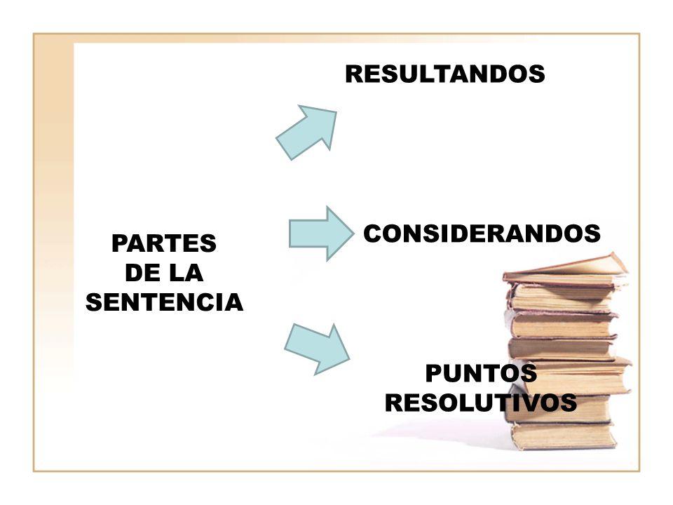 RESULTANDOS CONSIDERANDOS PARTES DE LA SENTENCIA PUNTOS RESOLUTIVOS