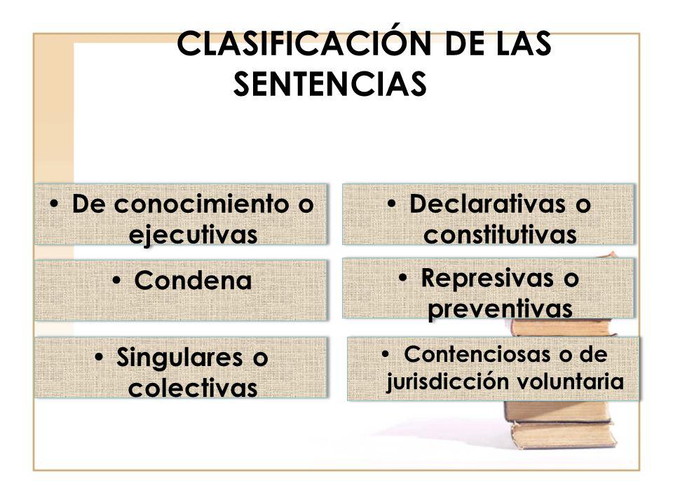 CLASIFICACIÓN DE LAS SENTENCIAS