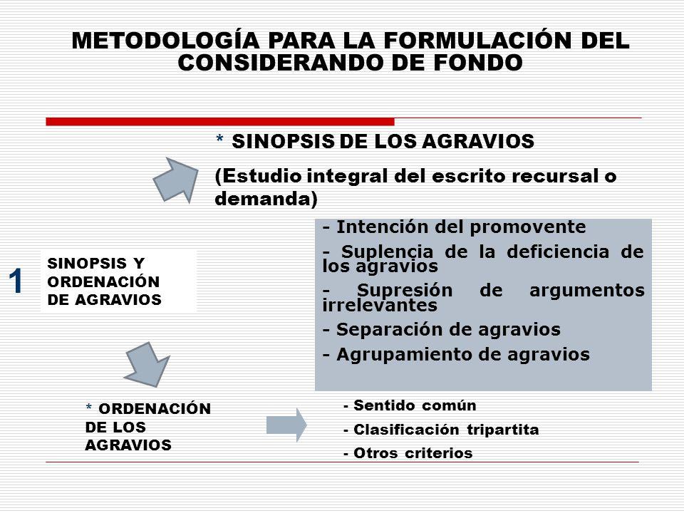 METODOLOGÍA PARA LA FORMULACIÓN DEL CONSIDERANDO DE FONDO