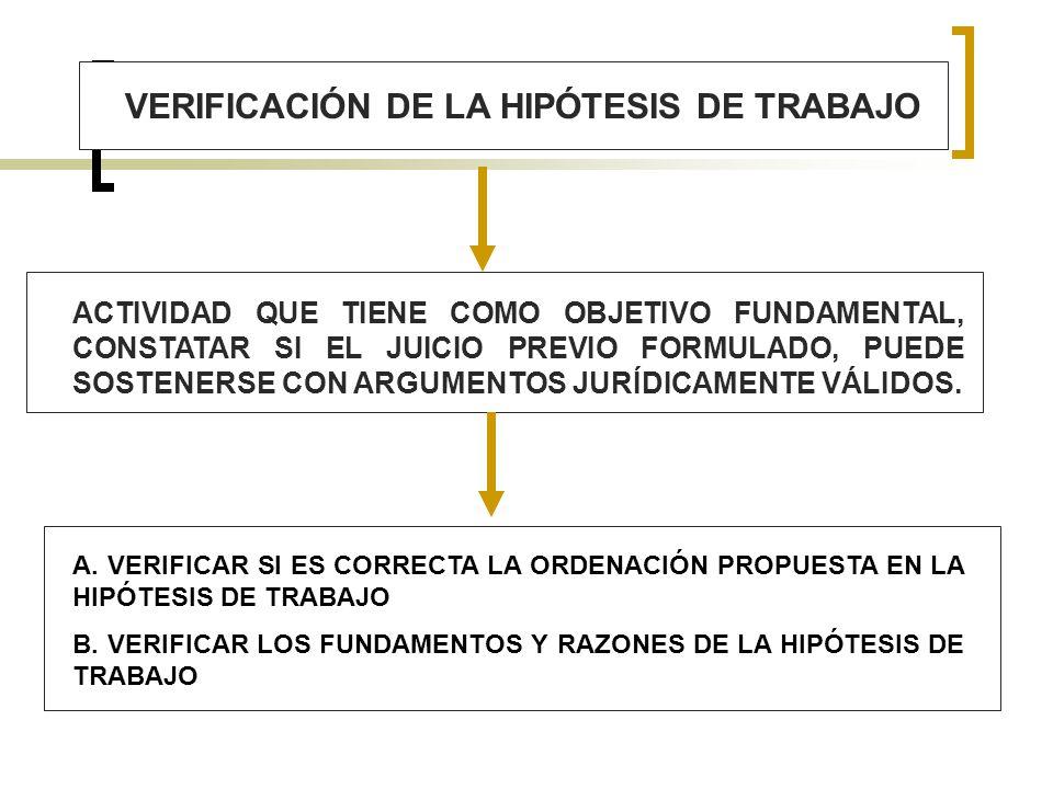 VERIFICACIÓN DE LA HIPÓTESIS DE TRABAJO