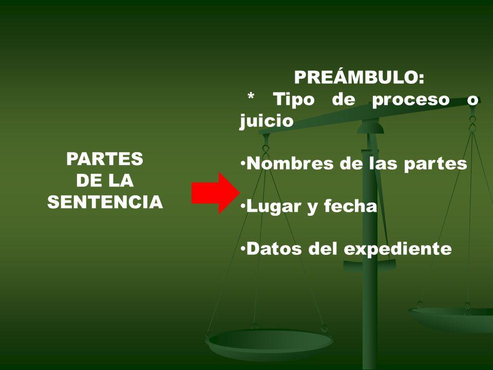 PREÁMBULO: * Tipo de proceso o juicio. Nombres de las partes. Lugar y fecha. Datos del expediente.