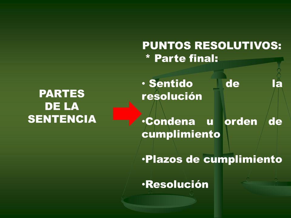 PUNTOS RESOLUTIVOS: * Parte final: Sentido de la resolución. Condena u orden de cumplimiento. Plazos de cumplimiento.