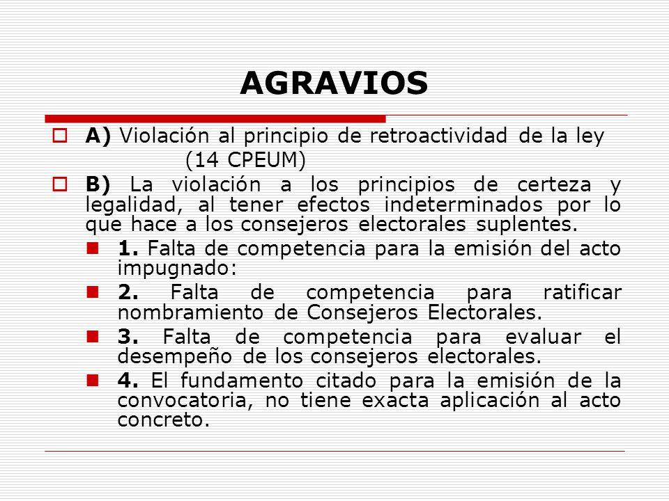 AGRAVIOS A) Violación al principio de retroactividad de la ley