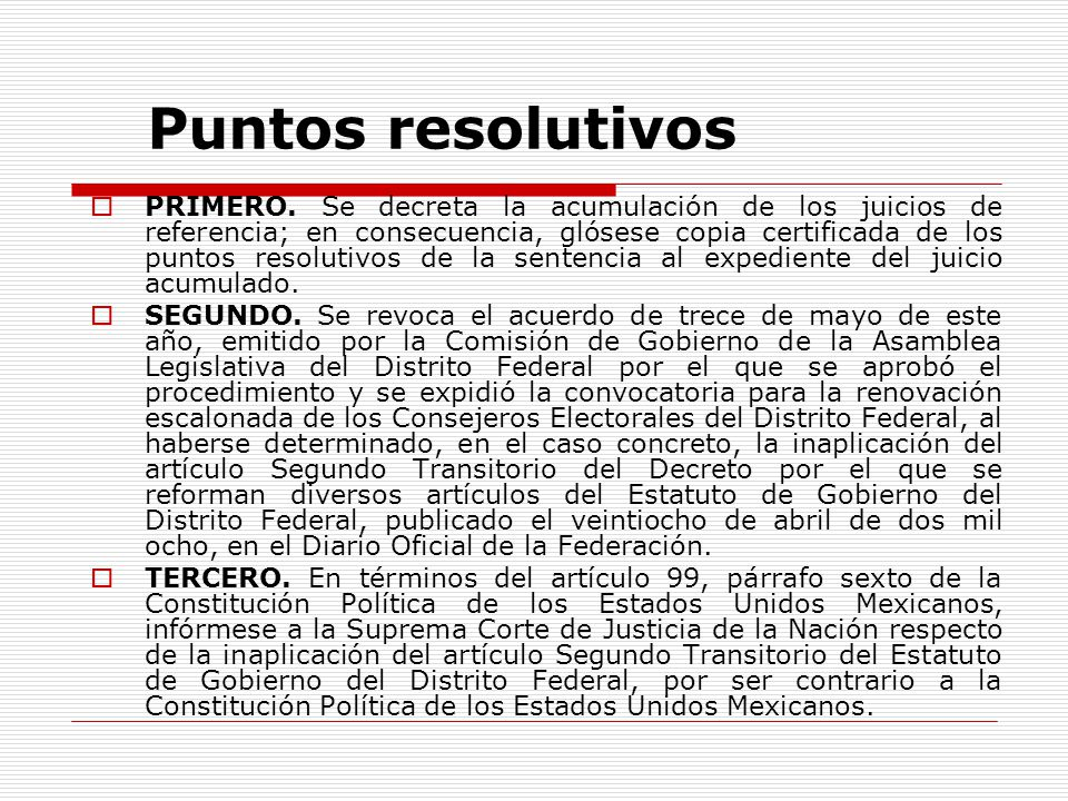 Puntos resolutivos