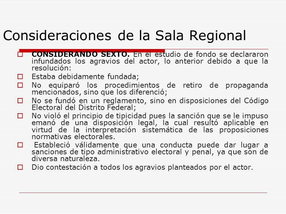 Consideraciones de la Sala Regional