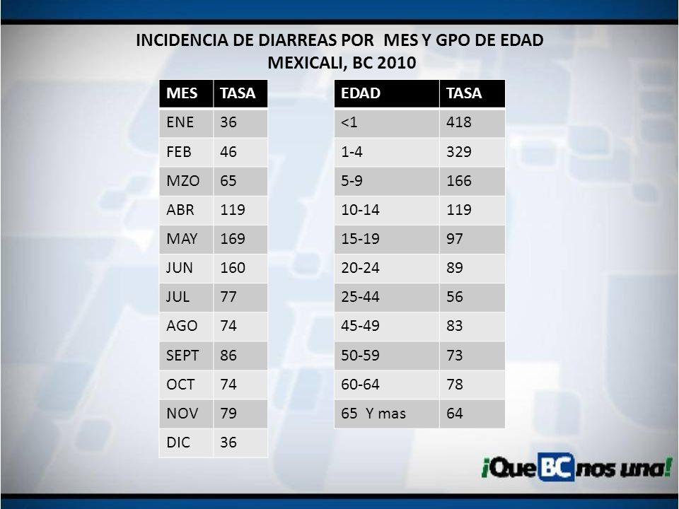 INCIDENCIA DE DIARREAS POR MES Y GPO DE EDAD