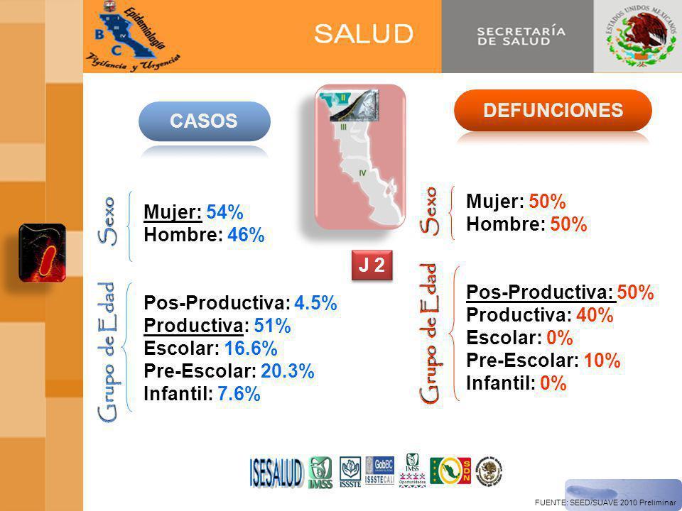 ISESALUD DEFUNCIONES CASOS Sexo Mujer: 50% Hombre: 50%