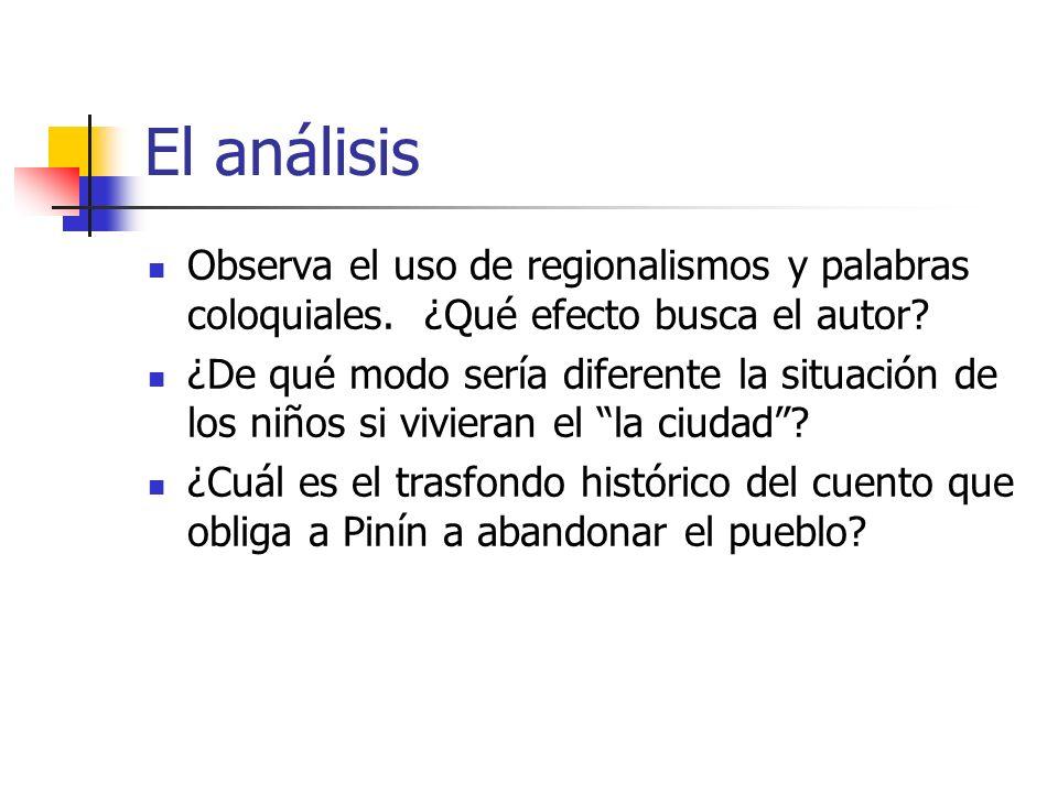 El análisis Observa el uso de regionalismos y palabras coloquiales. ¿Qué efecto busca el autor