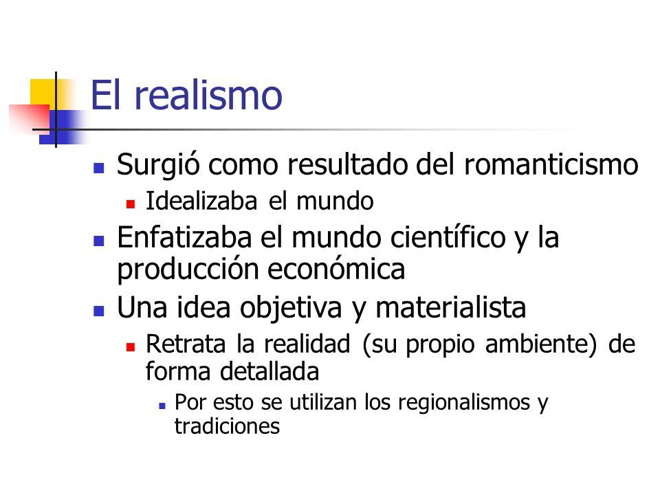El realismo Surgió como resultado del romanticismo