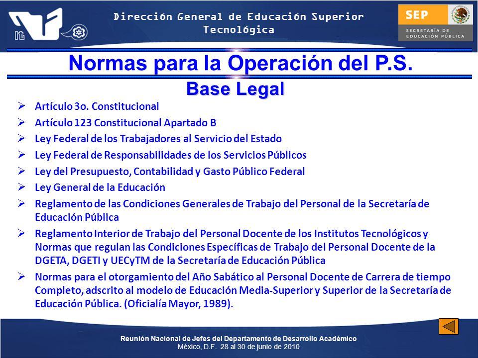 Normas para la Operación del P.S.