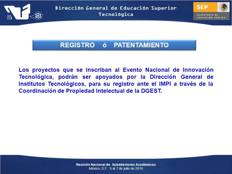 REGISTRO ó PATENTAMIENTO