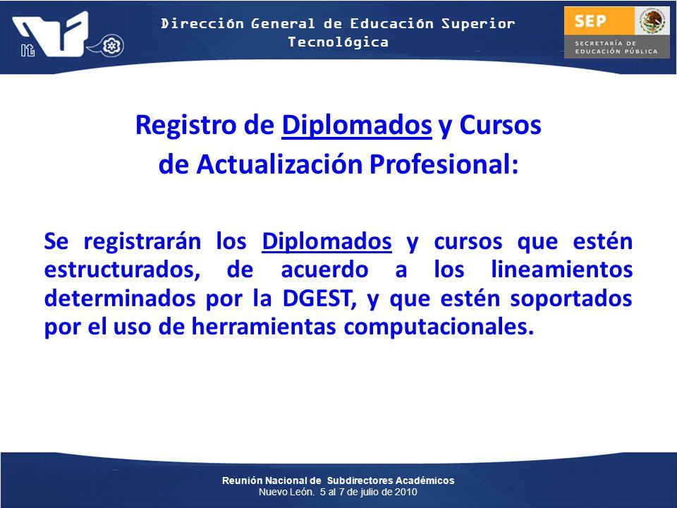 Registro de Diplomados y Cursos de Actualización Profesional: