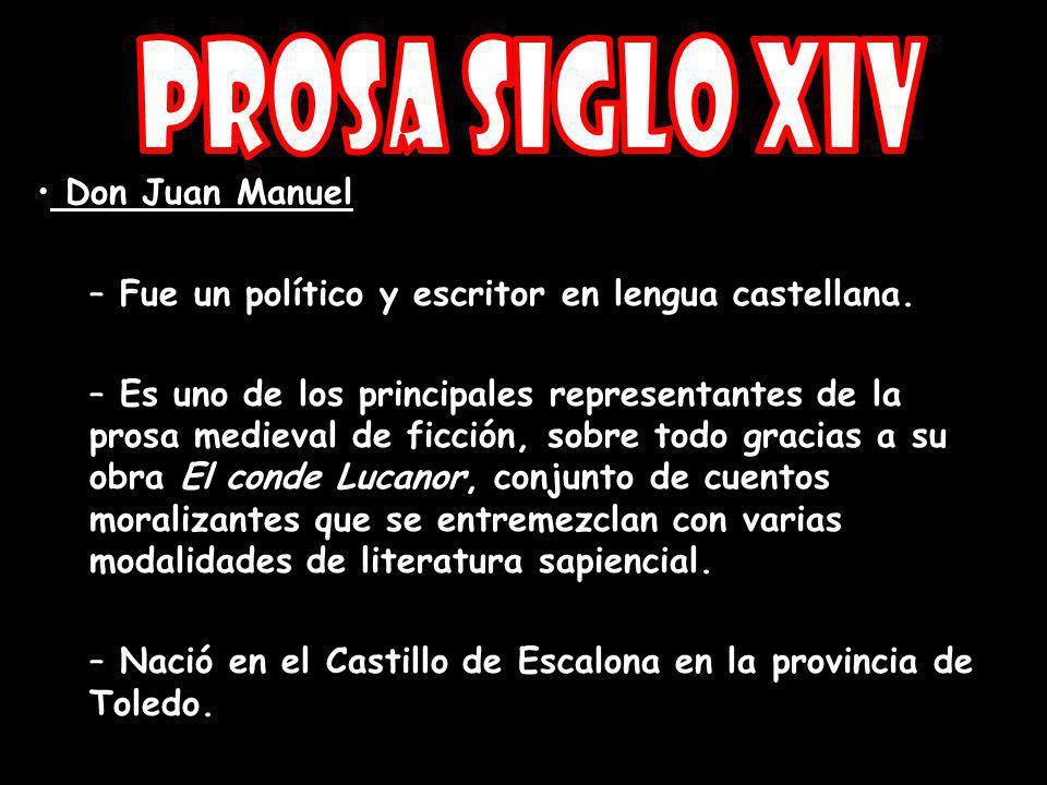 Prosa Siglo XIV Don Juan Manuel