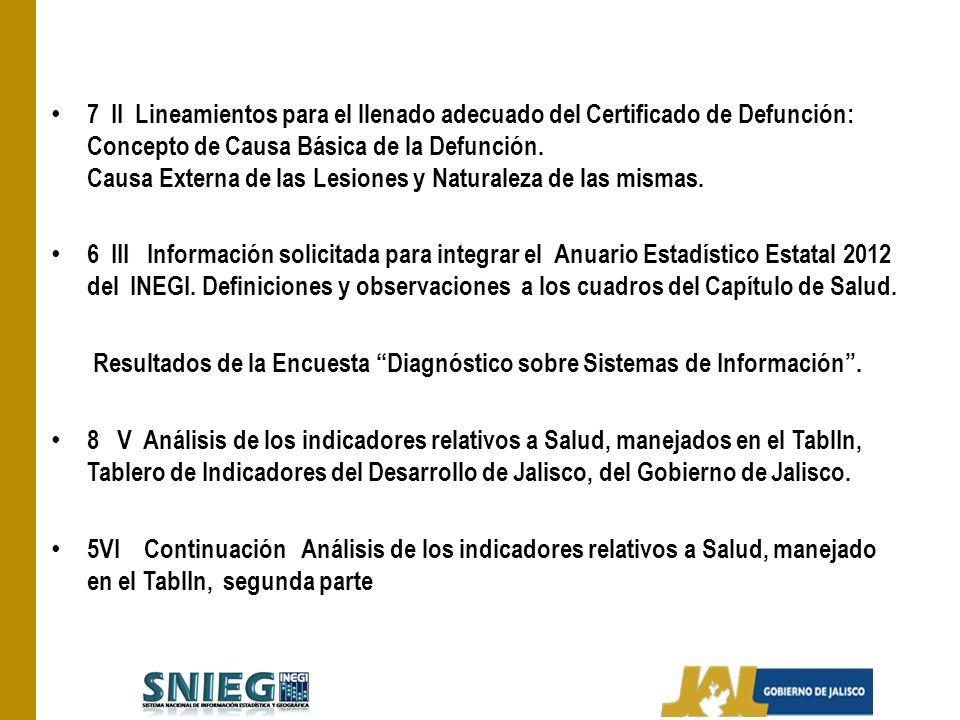 7 II Lineamientos para el llenado adecuado del Certificado de Defunción: Concepto de Causa Básica de la Defunción. Causa Externa de las Lesiones y Naturaleza de las mismas.