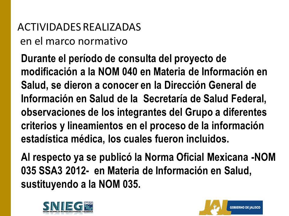 ACTIVIDADES REALIZADAS en el marco normativo