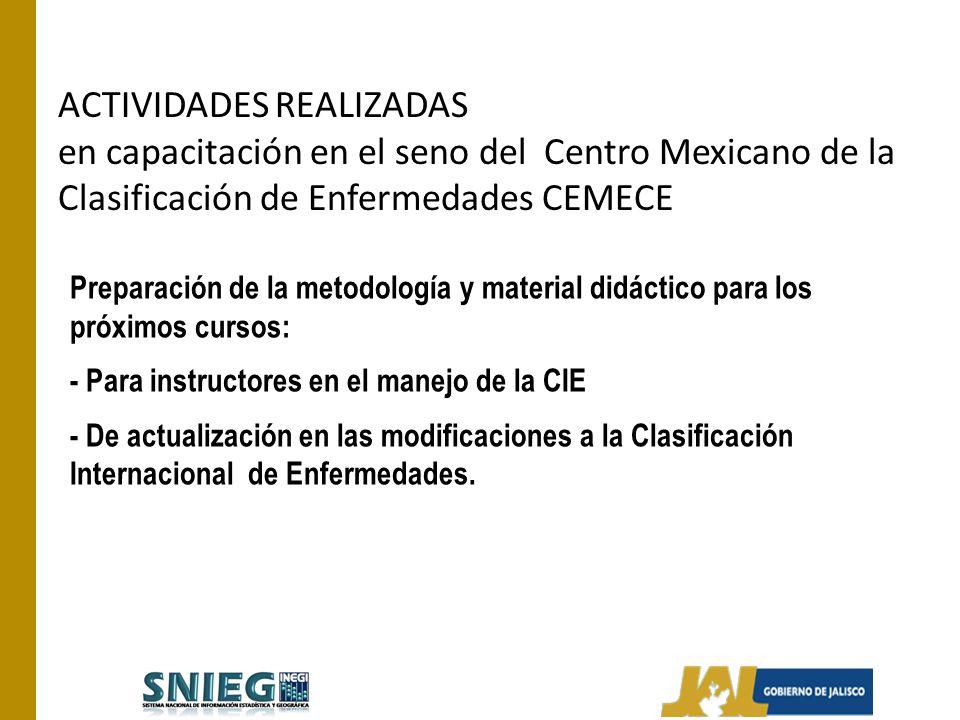 ACTIVIDADES REALIZADAS en capacitación en el seno del Centro Mexicano de la Clasificación de Enfermedades CEMECE