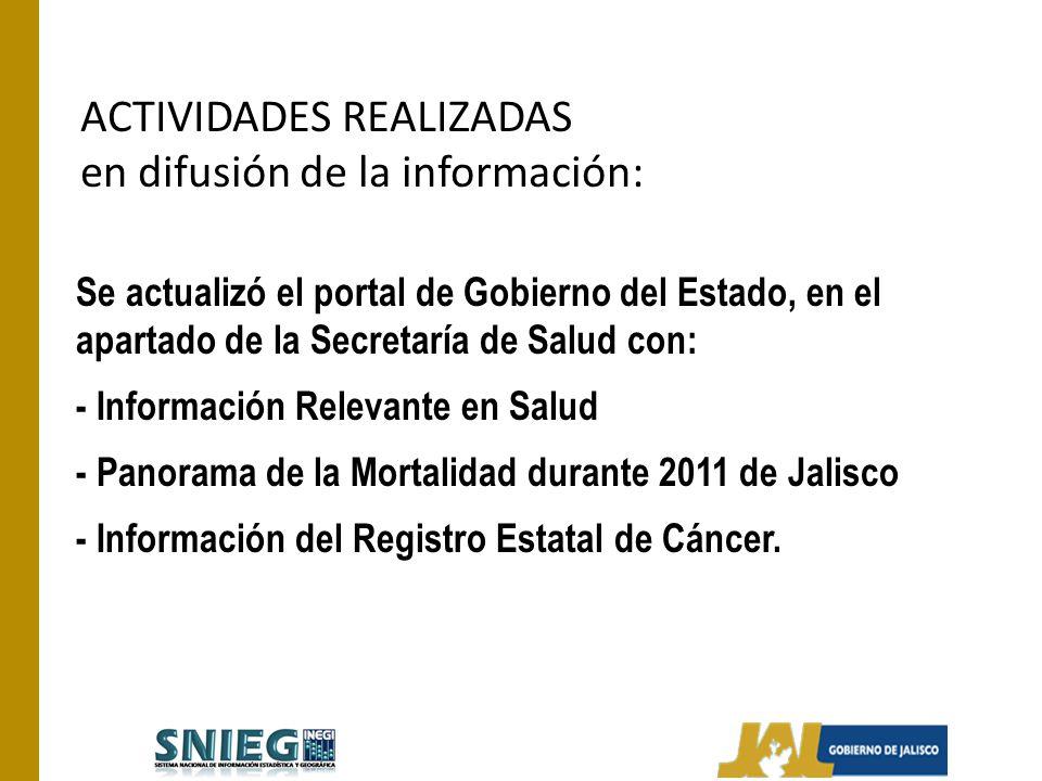 ACTIVIDADES REALIZADAS en difusión de la información: