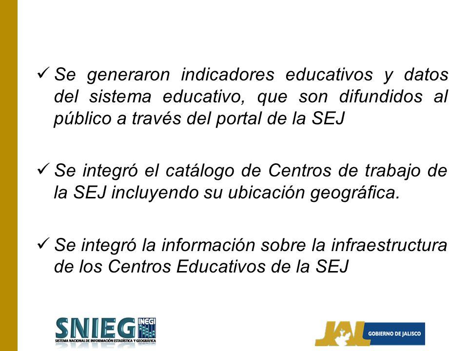 Se generaron indicadores educativos y datos del sistema educativo, que son difundidos al público a través del portal de la SEJ