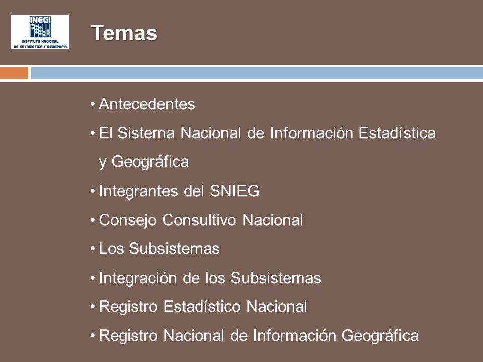 Temas Antecedentes. El Sistema Nacional de Información Estadística y Geográfica. Integrantes del SNIEG.