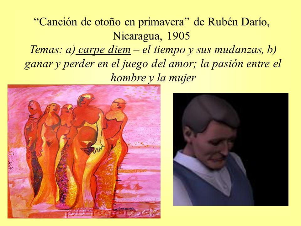 Canción de otoño en primavera de Rubén Darío, Nicaragua, 1905