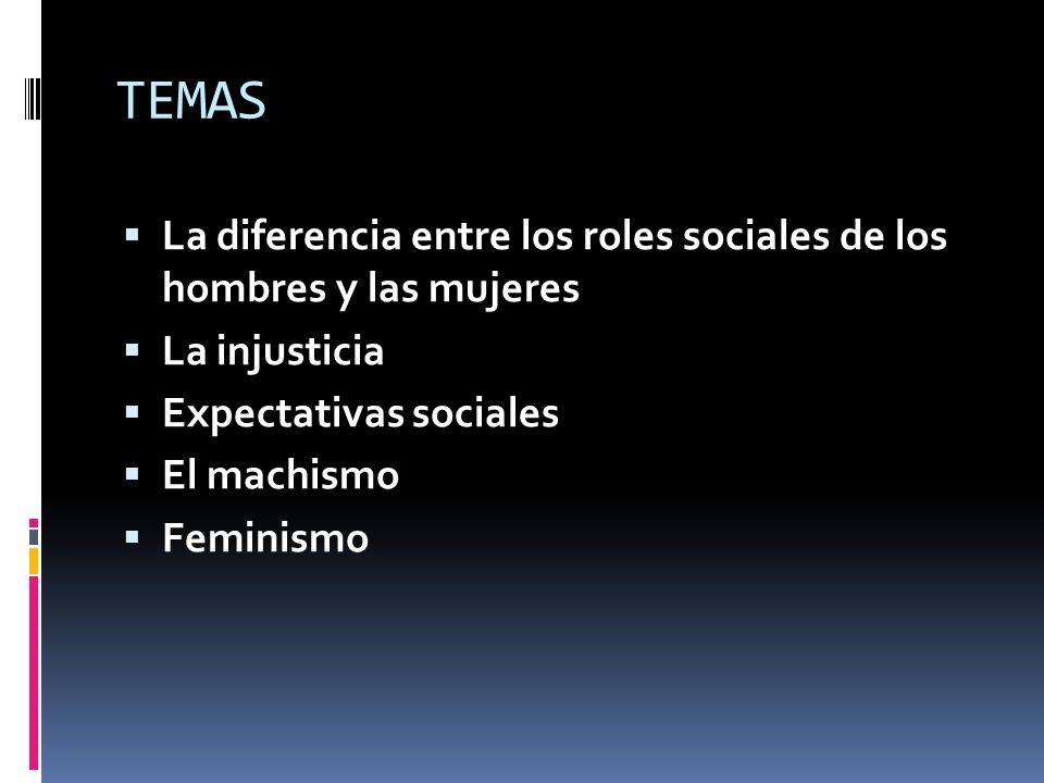 TEMAS La diferencia entre los roles sociales de los hombres y las mujeres. La injusticia. Expectativas sociales.