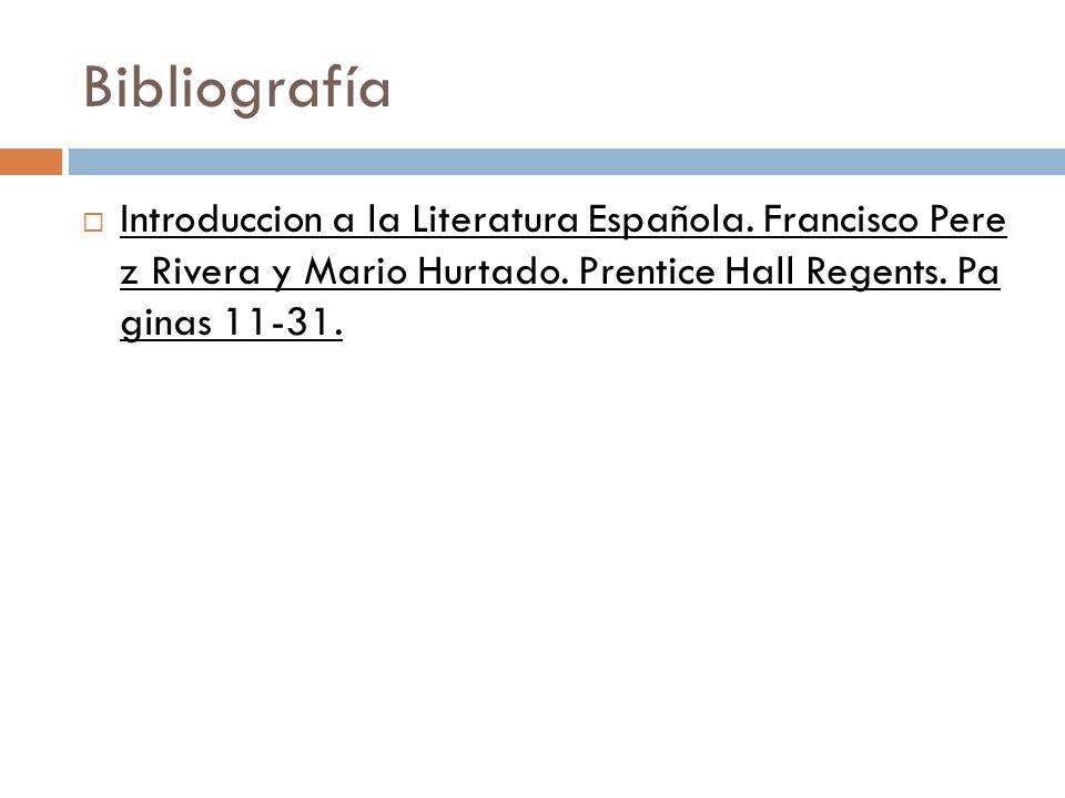 Bibliografía Introduccion a la Literatura Española.