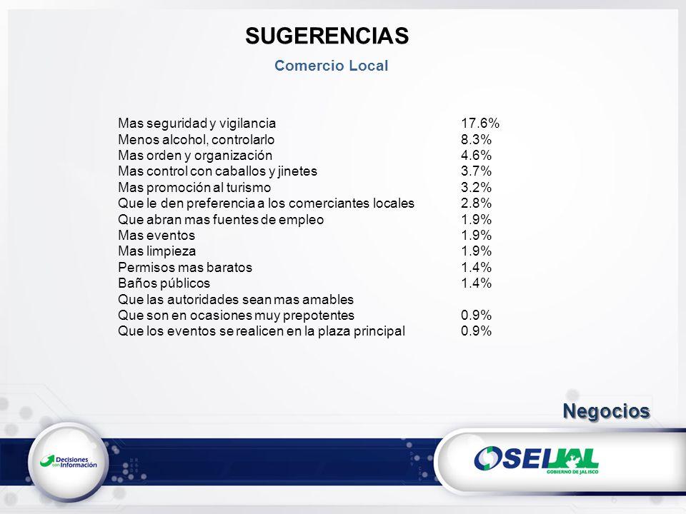 SUGERENCIAS Negocios Comercio Local Mas seguridad y vigilancia 17.6%