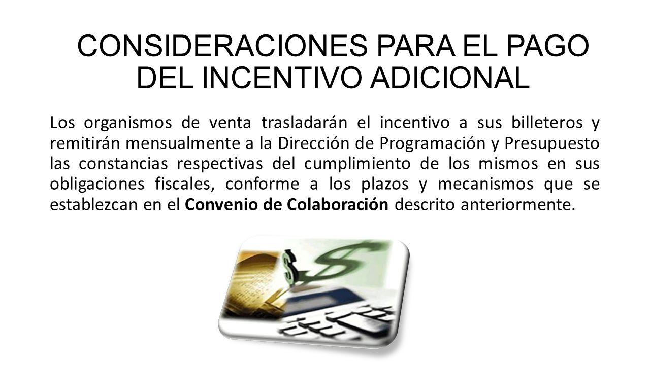 CONSIDERACIONES PARA EL PAGO DEL INCENTIVO ADICIONAL