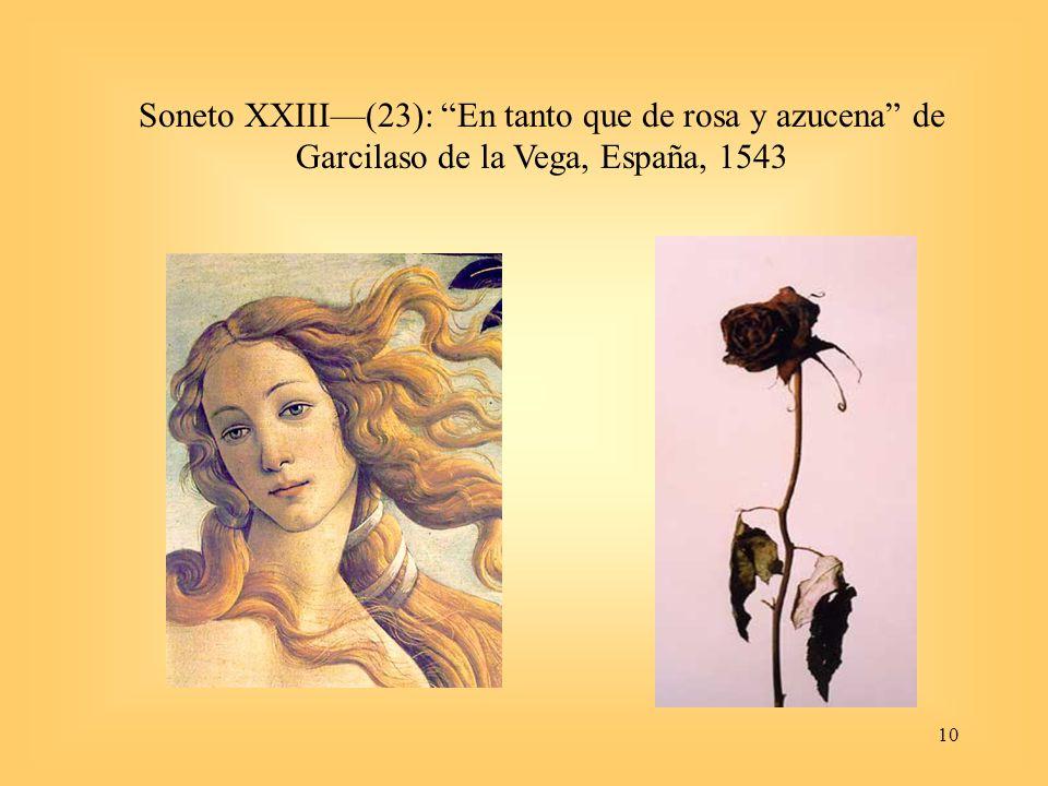 Soneto XXIII—(23): En tanto que de rosa y azucena de Garcilaso de la Vega, España, 1543