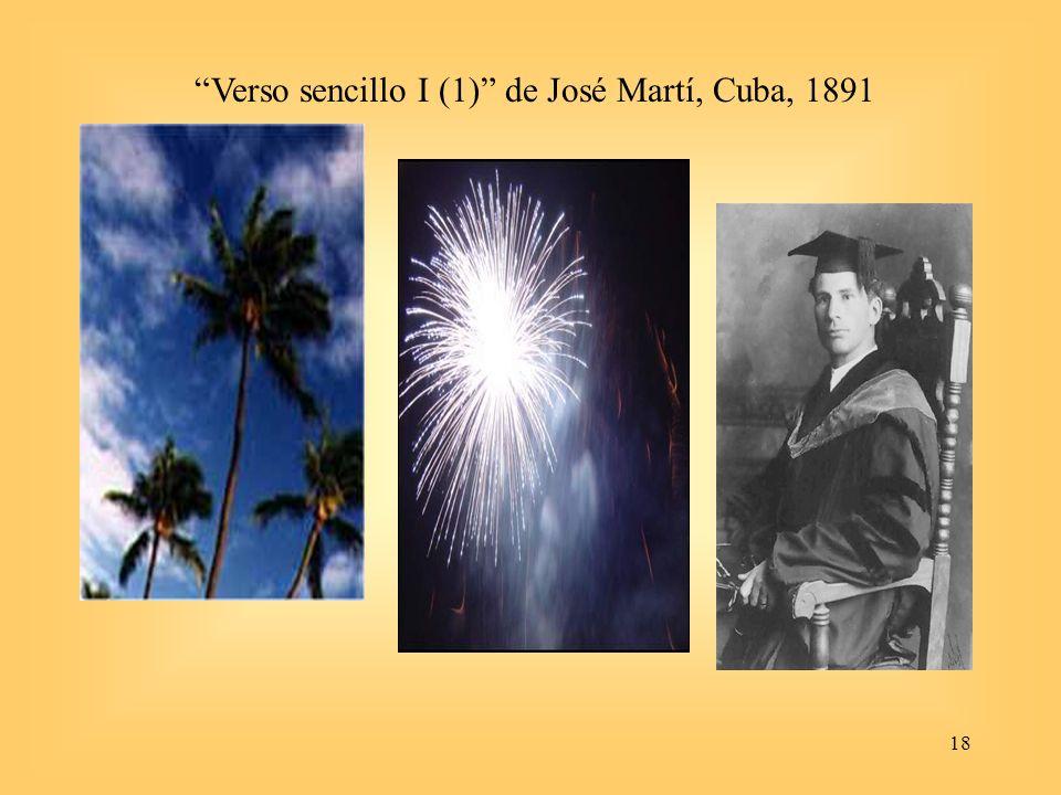 Verso sencillo I (1) de José Martí, Cuba, 1891