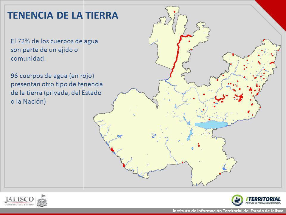 TENENCIA DE LA TIERRA El 72% de los cuerpos de agua son parte de un ejido o comunidad.