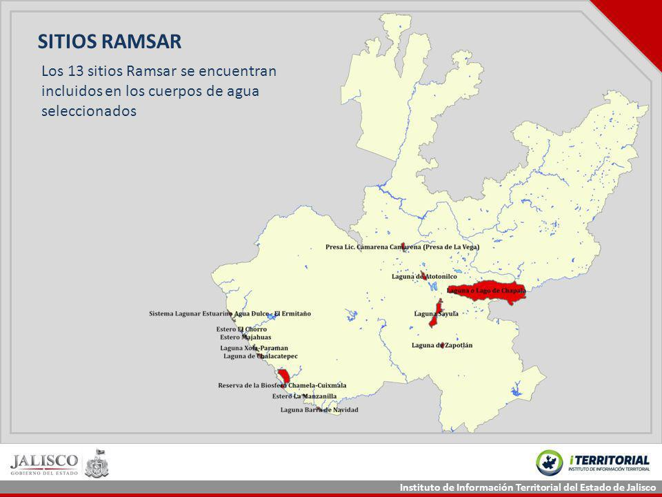 SITIOS RAMSAR Los 13 sitios Ramsar se encuentran incluidos en los cuerpos de agua seleccionados
