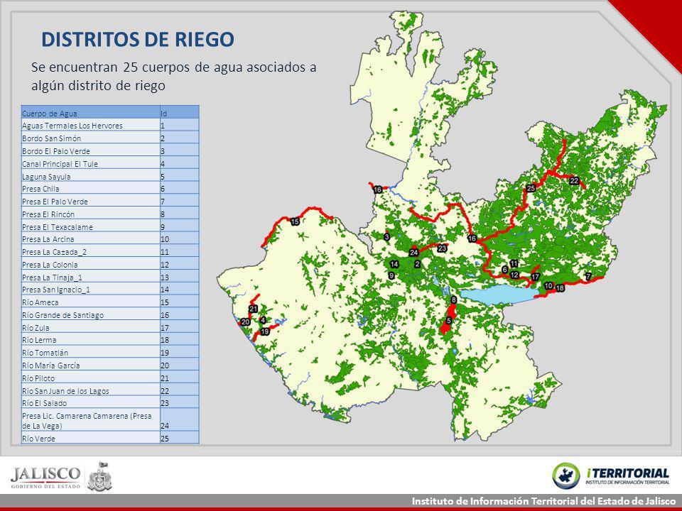 DISTRITOS DE RIEGO Se encuentran 25 cuerpos de agua asociados a algún distrito de riego. Cuerpo de Agua.