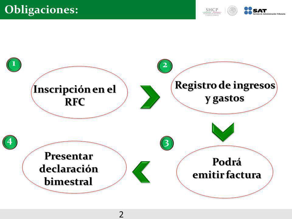 Registro de ingresos y gastos Presentar declaración bimestral