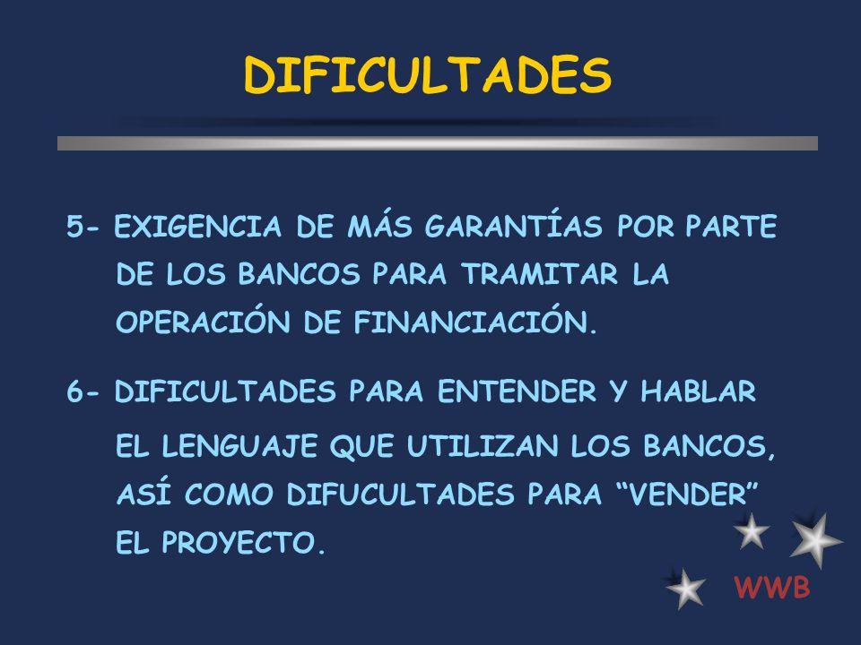 DIFICULTADES 5- EXIGENCIA DE MÁS GARANTÍAS POR PARTE