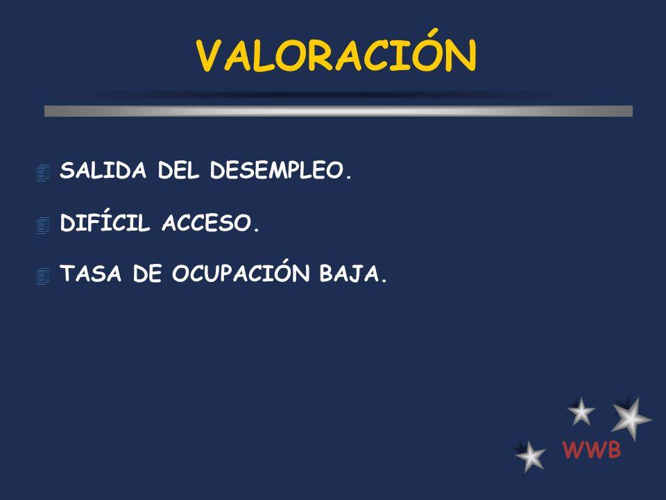 VALORACIÓN SALIDA DEL DESEMPLEO. DIFÍCIL ACCESO.