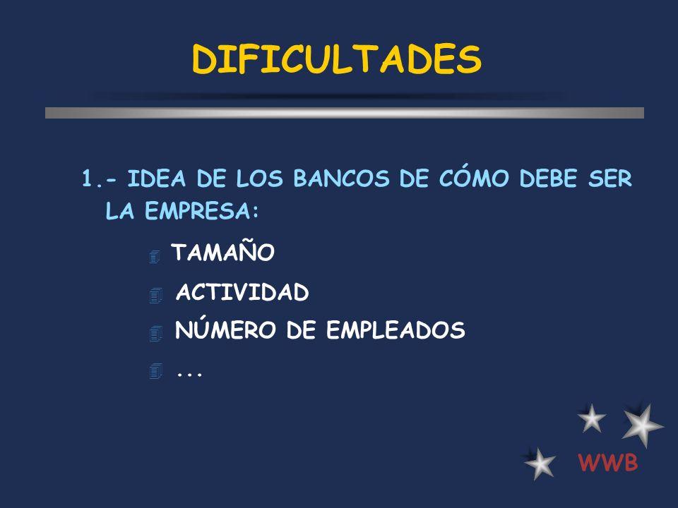 DIFICULTADES 1.- IDEA DE LOS BANCOS DE CÓMO DEBE SER LA EMPRESA:
