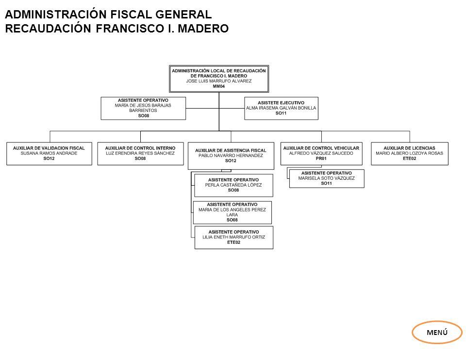ADMINISTRACIÓN FISCAL GENERAL RECAUDACIÓN FRANCISCO I. MADERO