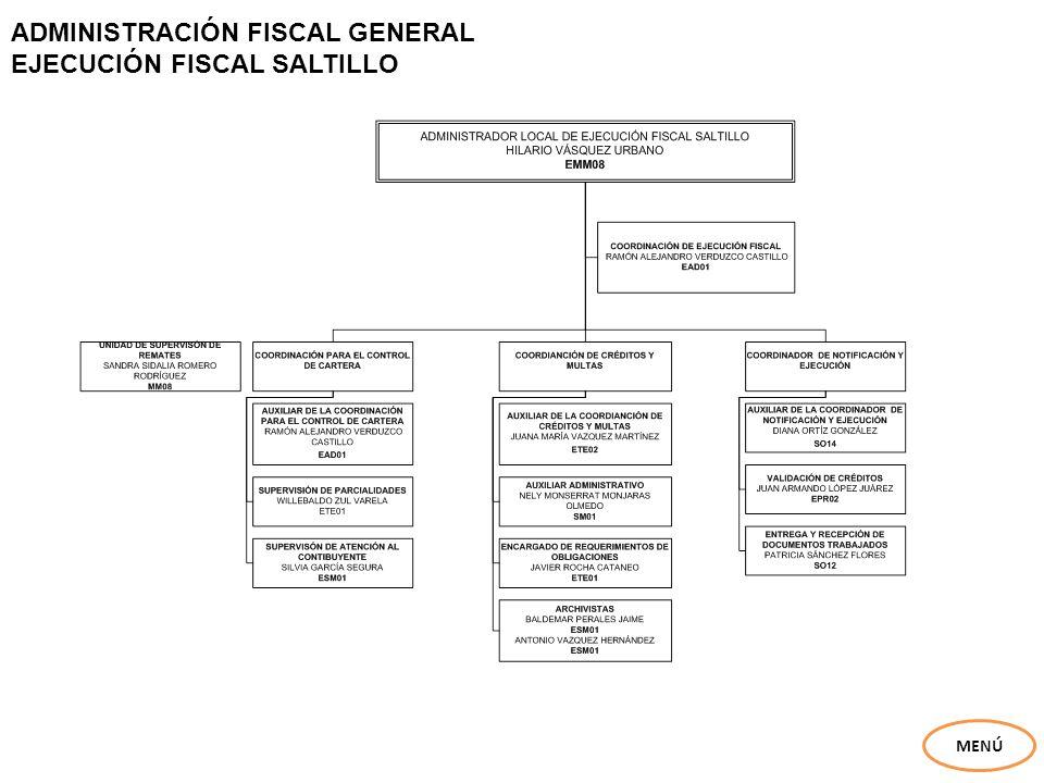 ADMINISTRACIÓN FISCAL GENERAL EJECUCIÓN FISCAL SALTILLO
