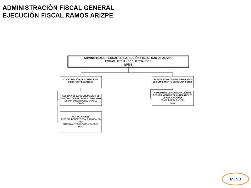 ADMINISTRACIÓN FISCAL GENERAL EJECUCIÓN FISCAL RAMOS ARIZPE