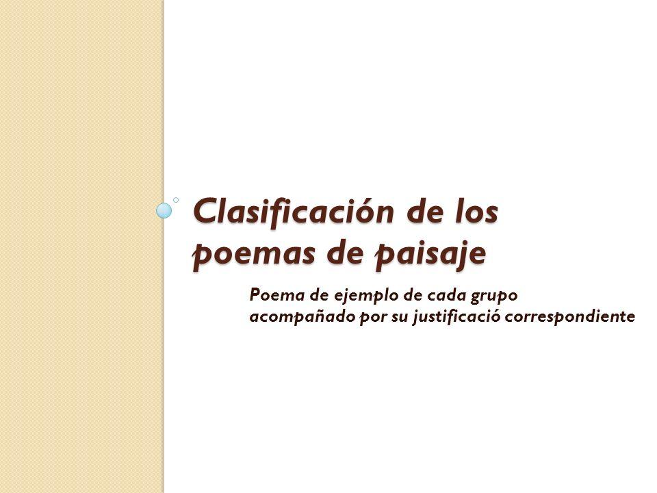 Clasificación de los poemas de paisaje