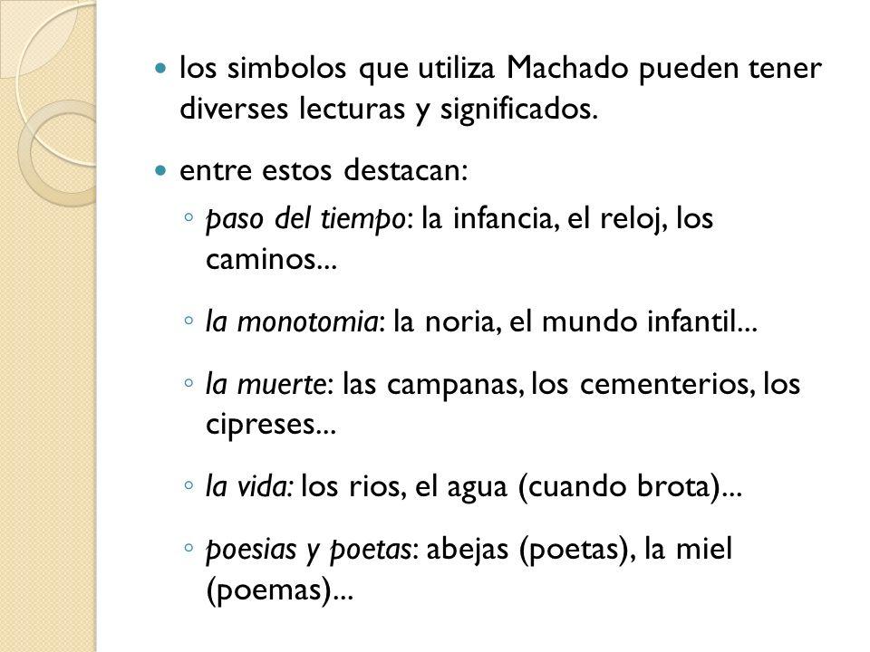 los simbolos que utiliza Machado pueden tener diverses lecturas y significados.