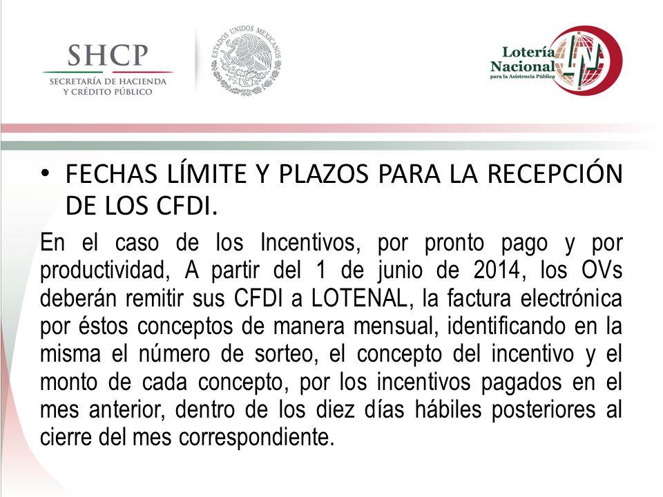 FECHAS LÍMITE Y PLAZOS PARA LA RECEPCIÓN DE LOS CFDI.