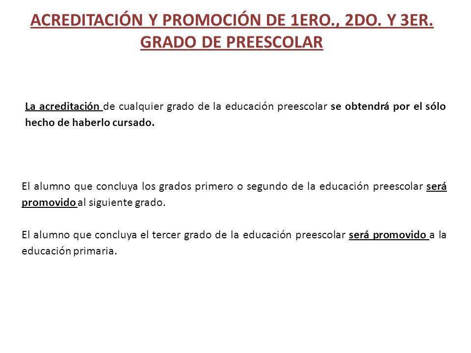 ACREDITACIÓN Y PROMOCIÓN DE 1ERO., 2DO. Y 3ER. GRADO DE PREESCOLAR