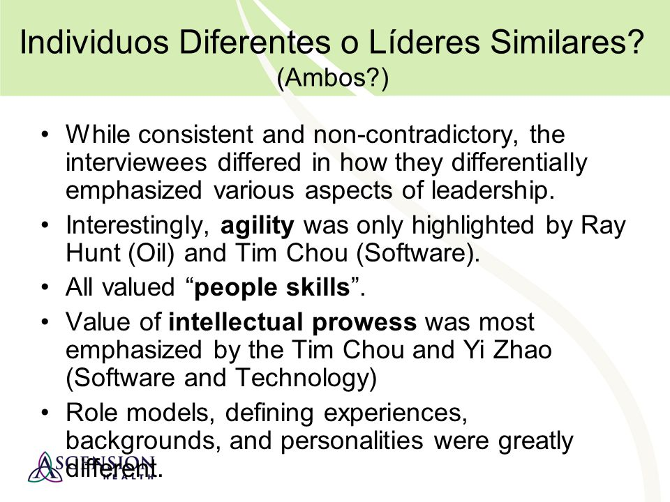Individuos Diferentes o Líderes Similares (Ambos )