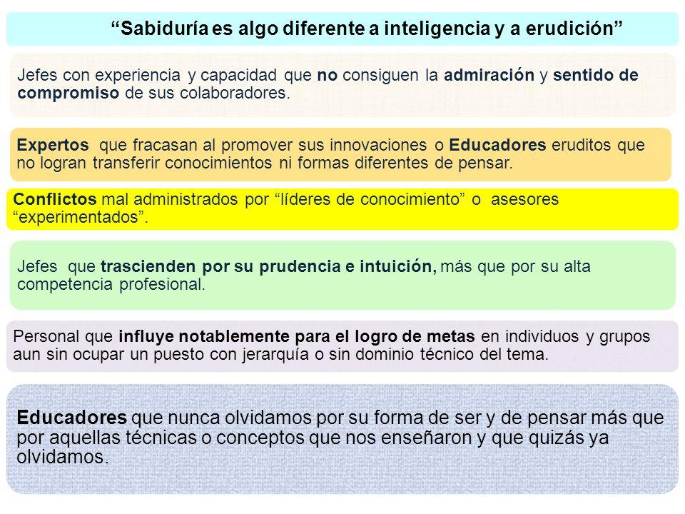 Sabiduría es algo diferente a inteligencia y a erudición