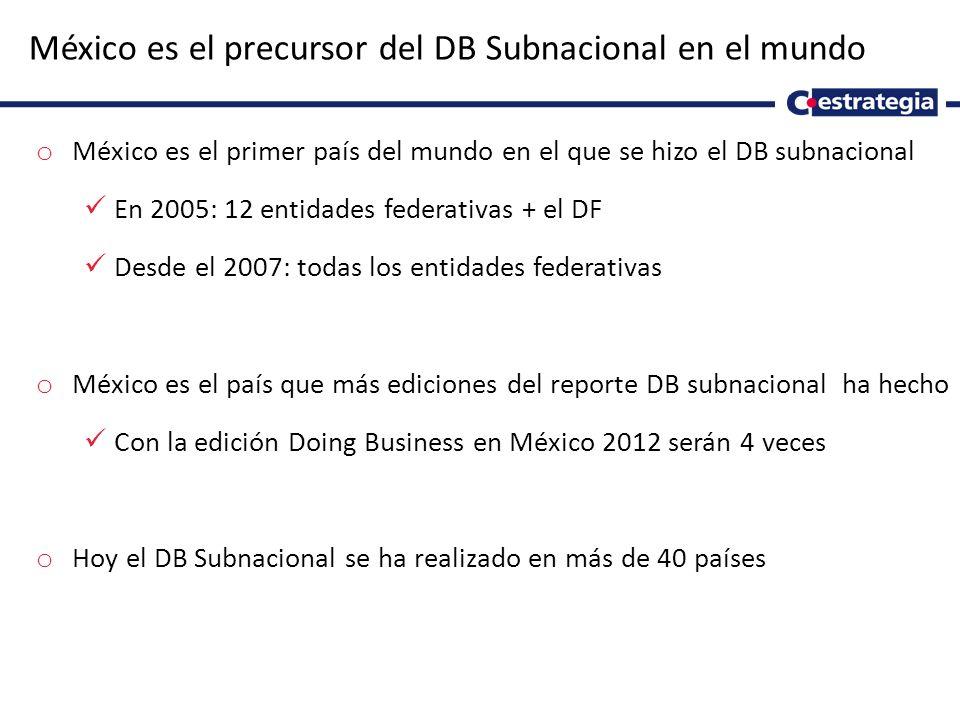 México es el precursor del DB Subnacional en el mundo