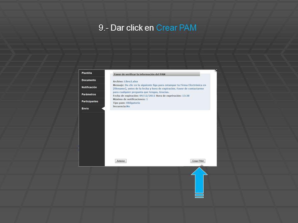 9.- Dar click en Crear PAM