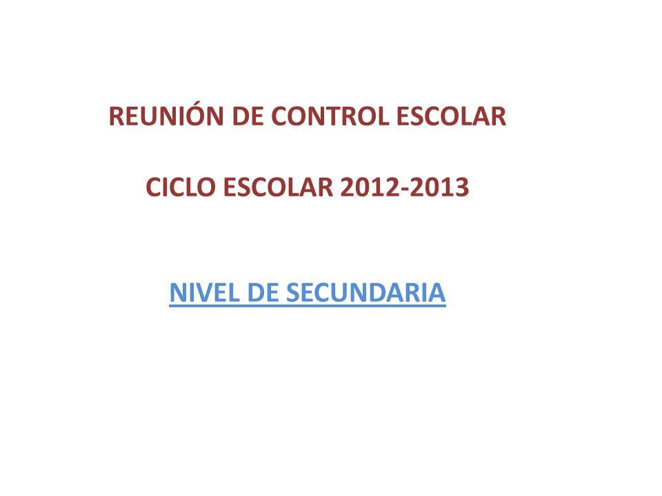 REUNIÓN DE CONTROL ESCOLAR