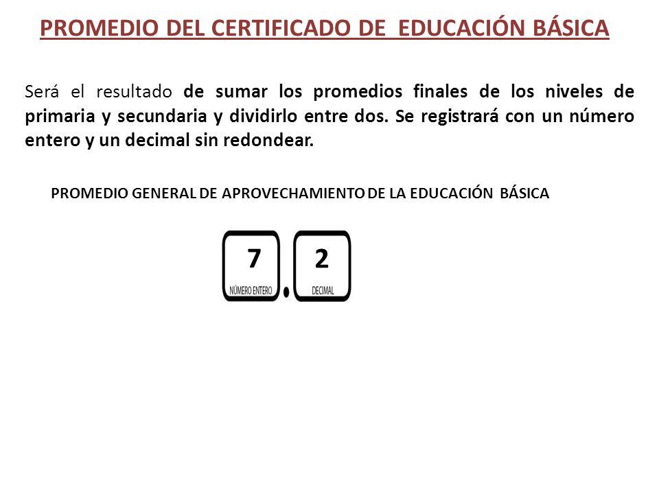 PROMEDIO DEL CERTIFICADO DE EDUCACIÓN BÁSICA